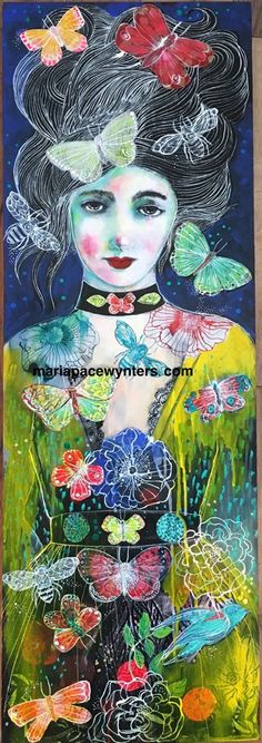 This is a 12x36 mixed media painting on wood. Sides are 1.5 and are painted red. I am rooted, but I flow Virginia Woolf Maria Pace-Wynters©2016 For more info check out my blog www.mariapacewynters.wordpress.com