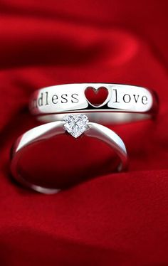 Matching Engraved Sterling Silver Promise Rings for Couples, Open Heart + Heart-Cut CZ Diamond, Love Gift @ iDream-Jewelry.Com