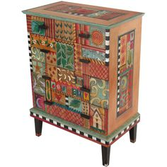 """Sticks creates this artistic one-of-a-kind dresser, constructed of hard wood. Hand drawn whimsical designs are burnt in, and then painted. Handmade in the USA * Size: 20""""D. x 36""""W. x 48""""H. * Signed, Dated Anything you can imagine, Sticks can design for your space. Customize: THEMES - COLORS - WORDS. For more information please send your inquiries to: bacon@sweetheartgallery.com Shipping: approximately three to six weeks. Pieces we have in stock ship immediately. FREE SHIPPING ON ORDER OF…"""
