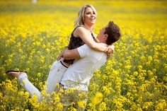 Avoid bare shoulders and bright colours (such as white) in this environment. Mini Sessions, Photo Sessions, Engagement Shoots, Engagement Ring, Rapeseed Field, Couple Photography, Wedding Photography, Canola Field, Yellow Fields