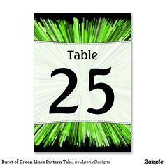 Burst of Green Lines Pattern Table Number Cards Line Patterns, Table Numbers, Green, Cards, Nice, Design, Wedding Table Numbers, Maps