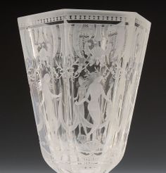 ** Simon Gate, Orrefors, six graces, engraved glass vase.