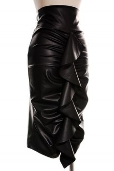 Faux leather, ruched, high waist pencil with ruffle trim. Available in small  medium, large.