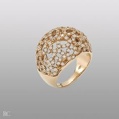 Roberto Coin Mauresque ring in pink gold and diamonds.