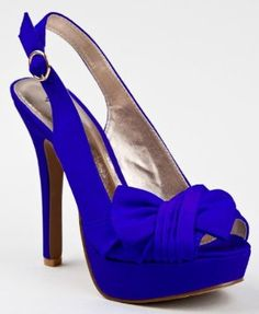 Qupid Pleated Bow Peep Toe Platform High Heel Stiletto Slingback Shoes in Cobalt Blue. Slingback Shoes, Platform Stilettos, Platform High Heels, Stiletto Pumps, High Heels Stilettos, Slingbacks, Hot Pink Heels, Cinderella Shoes, Types Of Shoes