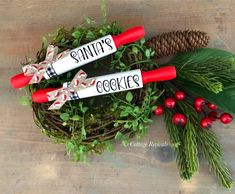 Set of 2 adorable mini rolling pins that say - Santa's Cookies. ⚠️ listing is for the set of 2 mini rolling pins only! Staging decor is NOT included. Felt Christmas Decorations, Christmas Wood, Handmade Decorations, Christmas Wreaths, Christmas Crafts, Christmas Ornaments, Holiday Decor, Diy Ornaments, Christmas Ideas