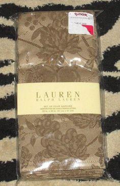 Napkins Cotton Ralph Lauren Jacquard Camel NIP Set of 4 #RalphLauren