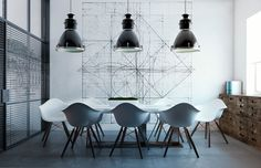 like the mix of vintage modern and industrial in this conference room. Pendants, chairs and wood cabinet.