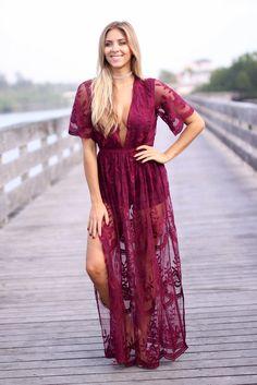Wine Lace Maxi Romper