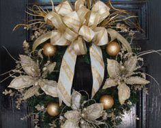 Small Business Saturday Pricing: Christmas Holiday Wreath in Champagne, Gold & Cream with Pearlized Poinsettias