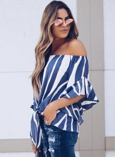 Chellysun Off The Shoulder Tops Blouse How to wear off shoulder top outfit DIY pattern cheker boho summer plus size hacks Fashion Sexy Loose Striped Flare Sleeve Off The Shoulder Women Blouse Chellysun.com #top #blouse #shirt #shirts #women #fashion