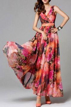 Shop Maxi Dresses - Red V Neck Floral-print Boho Floral Maxi Dress online… Boho Floral Maxi Dress, Chiffon Maxi Dress, Red Chiffon, Floral Skirts, Floral Print Dresses, Printed Dresses, Short Beach Dresses, Summer Dresses, Pretty Dresses