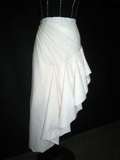 Draping on the stand - asymmetric skirt design with fluted hem - fashion design couture techniques; sewing; fabric manipulation