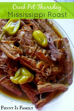 This Crockpot Mississippi Roast recipe is the most delicious beef to ever come out of a slow cooker. It's moist, delicious, and an incredibly easy dinner idea you'll LOVE!