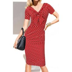 $15.19 Vintage V-Neck Bowknot Short Sleeve Polka Dot Women's Dress