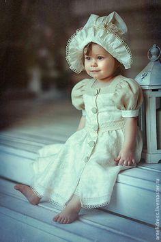 нарядный льняной костюмчик - бежевый,однотонный,лен,платье для девочки