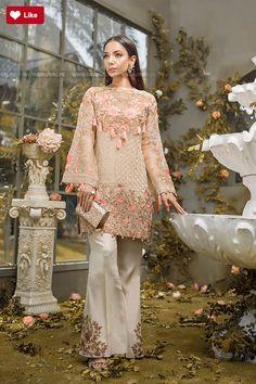 Gold weave embroidered cotton net 3 piece Pakistani dress by Gulaal pakistani party wear dresses online Latest Pakistani Dresses, Pakistani Party Wear Dresses, Pakistani Wedding Outfits, Pakistani Dress Design, Stylish Dresses, Nice Dresses, Fancy Suit, Pakistani Couture, Shalwar Kameez