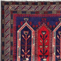 Semi-Antique Afghan Hand-Knotted Tribal Balouchi Red/ Navy Wool Rug (3' x 4'9) - Overstock™ Shopping - Great Deals on 3x5 - 4x6 Rugs