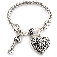 only $12 Fashion Bracelets: Antique Silver and Filligree Heart Lock Pendant and Key Bracelet. Matching Item # BINE00908401