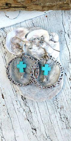 Turquoise Cross Hoop Earrings Silver by SecretStashBoutique