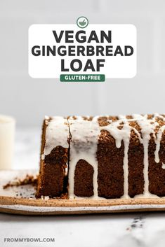 This cozy Vegan Gingerbread Loaf is light and fluffy, packed with spice, and the perfect holiday treat! It's also gluten-free and nut-free, so everyone can enjoy. Vegan Dessert Recipes, Delicious Vegan Recipes, Delicious Desserts, Cake Recipes, Loaf Recipes, Vegan Christmas, Christmas Baking, Christmas Recipes, Holiday Recipes