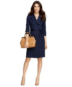 Wool Double-Breasted Trench Dress - Brooks Brothers. Camel Bag & Nude Heels