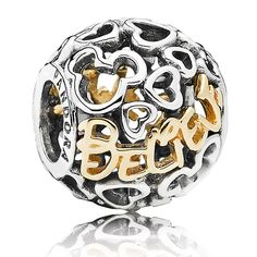 """PANDORA Disney Believe with 14K Charm -  Do you believe in magic?!  The PANDORA Disney Believe Charm features Sterling Silver cutouts of the Mickey Mouse Icon with the word """"Believe"""" in 14KT Yellow Gold. This charm is the perfect addition to your collection to show that you are a Believer!!"""