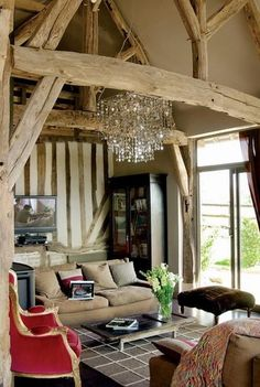Beams and chandeliers, mmm yes please