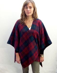 Easy-to-sew poncho made with plaid wool tartan from Mood Fabrics NYC. #moodfabrics