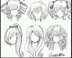 Fantasting Drawing Hairstyles For Characters Ideas. Amazing Drawing Hairstyles For Characters Ideas. Hair Reference, Drawing Reference Poses, Drawing Skills, Drawing Techniques, Drawing Tips, Manga Hair, Anime Hair, Girl Hair Drawing, Pelo Anime