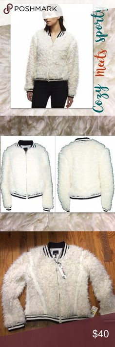 """NWT🍁Kind Of Tina Fuzzy Bomber Jacket Cozy meets sporty in a classic zip-front baseball jacket made of super-fuzzy fauxfur and accented with striped rib-knit trim.💟Elevate your wardrobe with this bomber jacket!!!💕   * 20"""" length (size Medium). * Front zip closure. * Ribbed collar, cuffs and hem. * Long sleeves. * 100% polyester fauxfur with 95% cotton, 5% spandex ribbed trim. Kiind Of Jackets & Coats"""