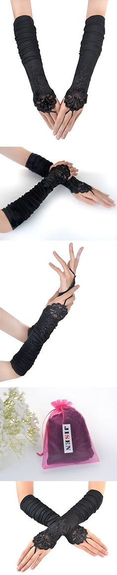 JISEN Ladies's Fingerless Long Gathered and Beaded Fold Floral Embroidery Lace Sequins Satin S06 Bridal Party Gloves 15 (Black)