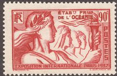 """French Oceania 1937 90c red """"France and the Empire"""" Paris International Exposition: Colonial Arts Exposition"""