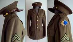 World War 2 Uniform Jacket with 2 hats Military Uniforms, United States Navy, Tailored Suits, American Soldiers, Cold War, Military History, World War Ii, Men's Clothing, Ww2