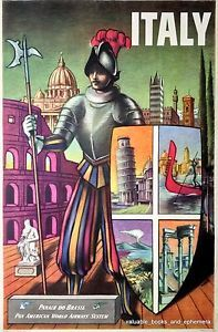 Artwork by Xanti, 1949 PAN AMERICAN AIRWAYS, INC. Litho in USA serial 2396. Spectacular colors, design of a Papal Swiss Guard at attention, with the monuments of St. Peters, the Colosseum, Piazza San Marco (Venice), leaning tower of Pisa, Mt. Vesuvius, Venetian gondolas, Roman Forum, Italian Alps and Florence in the background.