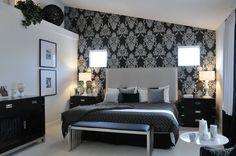 Bedroom , Awesome Black and Silver Bedroom Ideas for Modernizing Your Home Design : Black And Silver Wallpaper With Flroal Motifs For Elegant And Classy Look