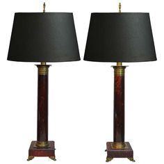 Pair of French Neoclassical Style Red Faux Marble Wood & Brass Column Form Lamps | From a unique collection of antique and modern table lamps at http://www.1stdibs.com/furniture/lighting/table-lamps/