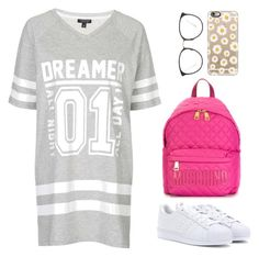 """Untitled #638"" by jessicabiazi ❤ liked on Polyvore featuring Topshop, adidas, Linda Farrow, Moschino and Casetify"