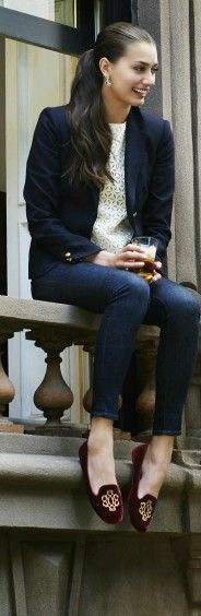 Navy blue blazer, loafers, jeans and ponytail...so chic