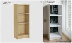 Cómo pintar y tunear un mueble de melamina: Fantástico antes y después de una estantería