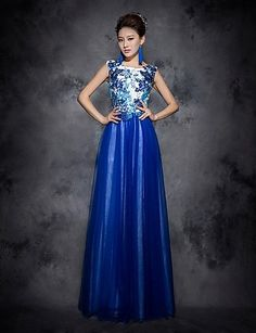 Blue Prom Dress Sequins Scoop Floor-length Tulle Dress - USD $ 299.99