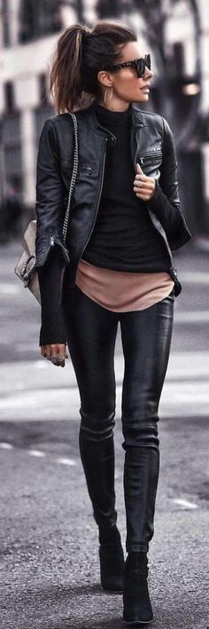 Delightful outfit in leather
