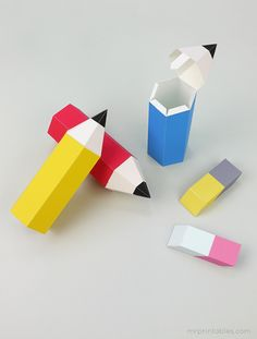 Back to school printable pencil favor boxes with erasers.