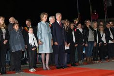 "King Philippe, Queen Mathilde and Princess Elisabeth at First World War commemoration ""The Light Front"" in Ploegsteert, Belgium. 17/10/2014"