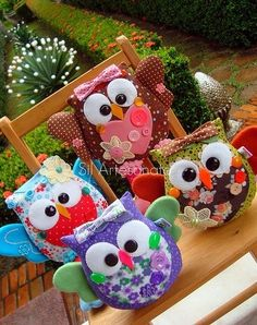 Owl sewing (for jen! Owl Fabric, Fabric Crafts, Sewing Crafts, Sewing Projects, Craft Projects, Projects To Try, Owl Crafts, Diy And Crafts, Arts And Crafts