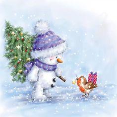 Canvas Artwork, Canvas Art Prints, Canvas Frame, Christmas Dog, Christmas Crafts, Decoupage, Christmas Paintings, Christmas Illustration, Creative Activities