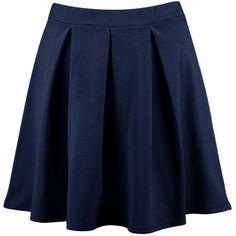 Boohoo Aya Basic Scuba Box Pleat Skater Skirt (110 HKD) ❤ liked on Polyvore featuring skirts, blue midi skirt, flared skirt, midi skater skirt, box pleat skirt and circle skirt