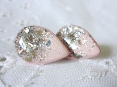 Hey, I found this really awesome Etsy listing at https://www.etsy.com/listing/92764193/tear-drop-pale-pink-glitter-studs