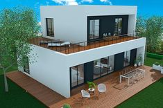 Modern Bungalow House, Modern House Design, House Construction Plan, Different House Styles, Model House Plan, Casas The Sims 4, Casas Containers, Small Modern Home, Small Modern House Exterior