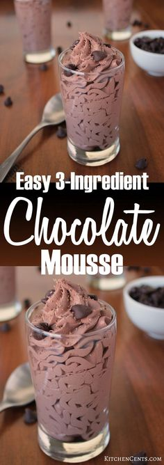 An airy, delicious chocolate mousse recipe with 3 ingedients and whips up in LESS THAN 5 MINUTES. This easy mousse will be enjoyed by all chocolate lovers! Dessert Party, Oreo Dessert, Moose Dessert, Dessert Recipes, Chocolate Moose, Best Chocolate, Homemade Chocolate, Delicious Chocolate, Chocolate Chips